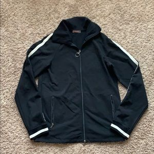 Prada Men L Track Jacket Black Striped Full Zip L